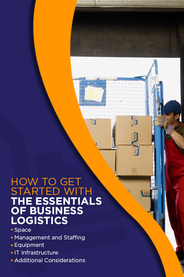 How to get started with the essentials of business logistics. Space, Management and Staffing, Equipment, IT Infrastructure, Additional Considerations.